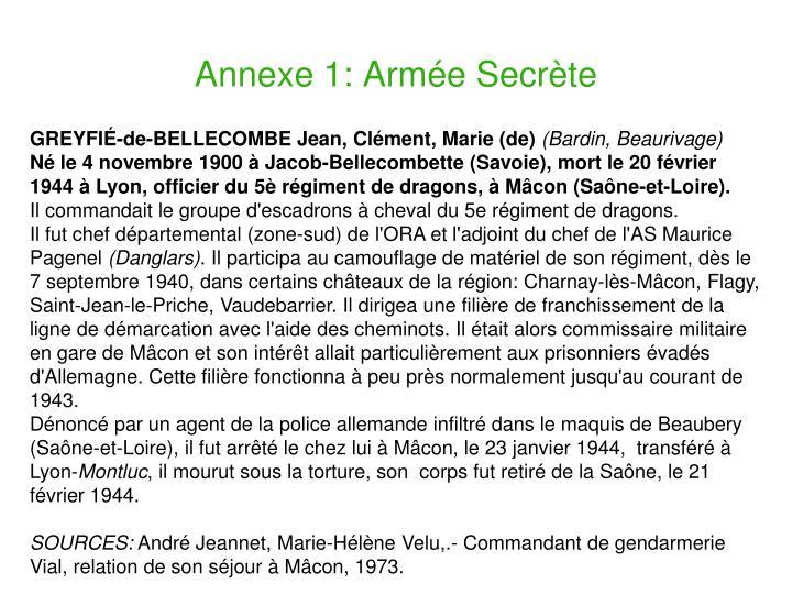 Annexe 1: Armée Secrète