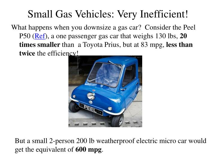 Small gas vehicles very inefficient