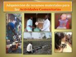adquisici n de recursos materiales para las actividades comunitarias