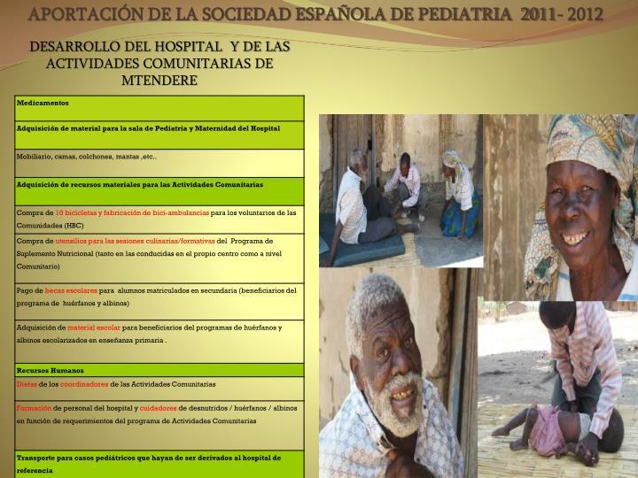 DESARROLLO DEL HOSPITAL  Y DE LAS ACTIVIDADES COMUNITARIAS DE MTENDERE