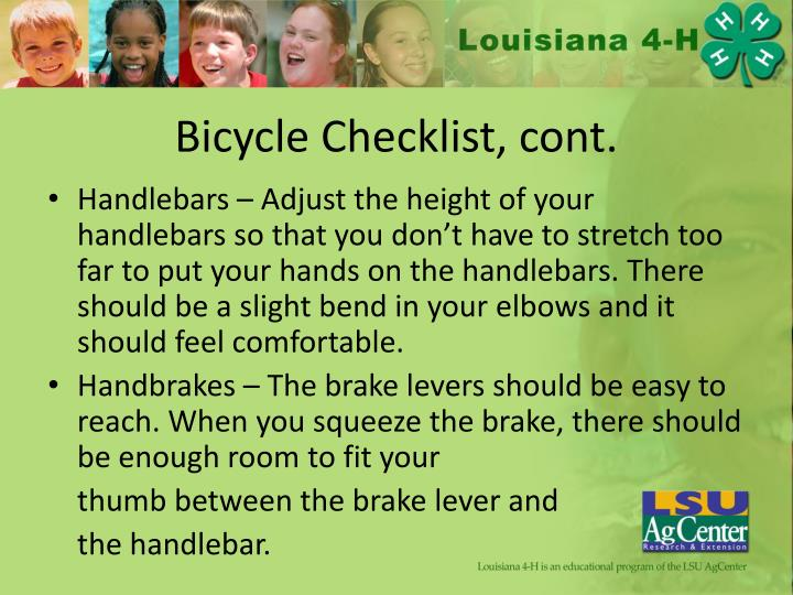 Bicycle Checklist, cont.