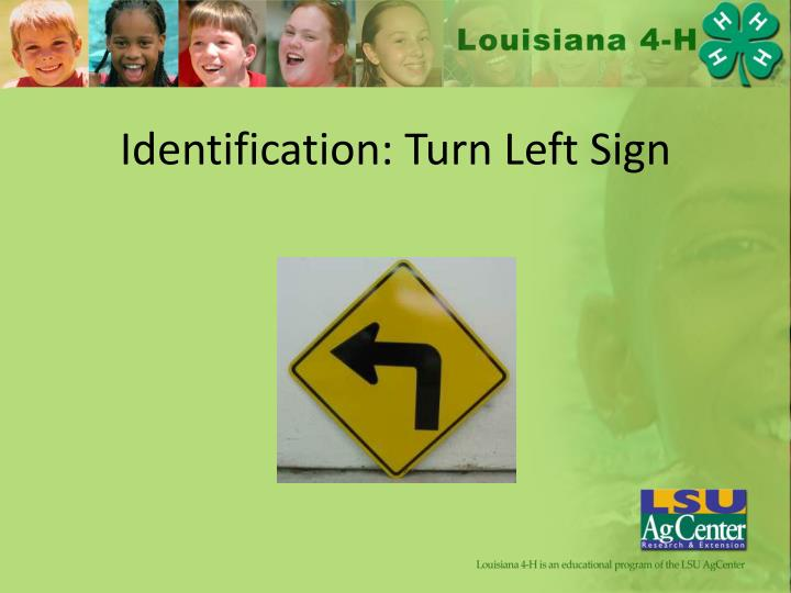 Identification: Turn Left Sign
