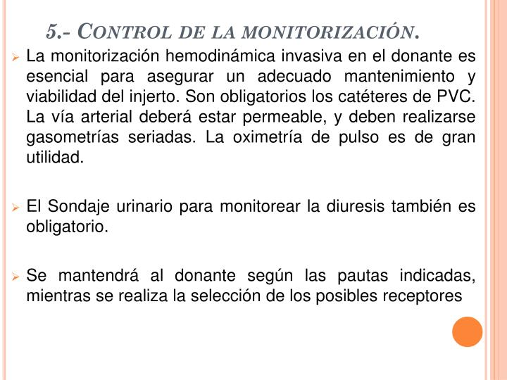 5.- Control de la