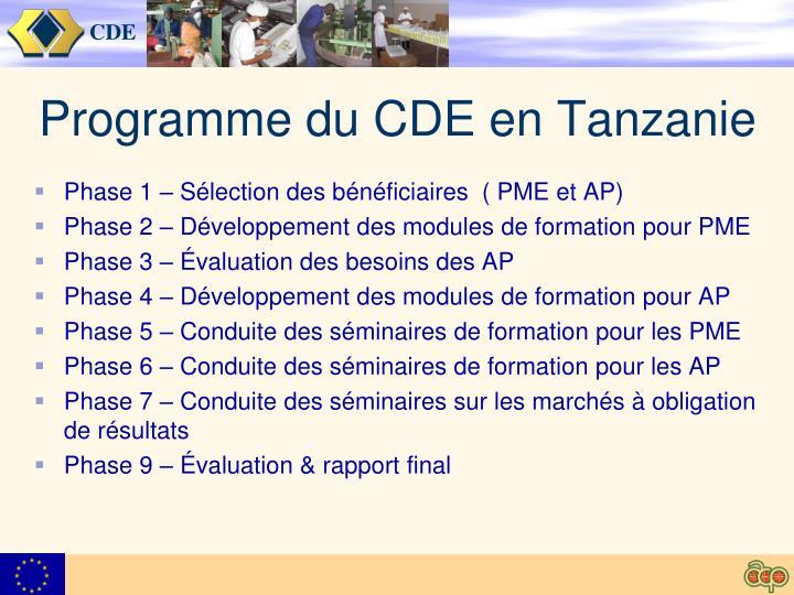 Programme du CDE en Tanzanie