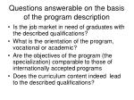 questions answerable on the basis of the program description