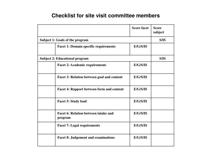 Checklist for site visit committee members