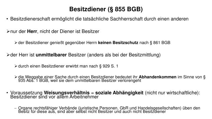 Besitzdiener (§ 855 BGB)