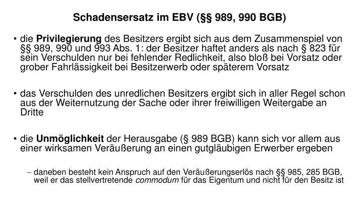 Schadensersatz im EBV (§§ 989, 990 BGB)