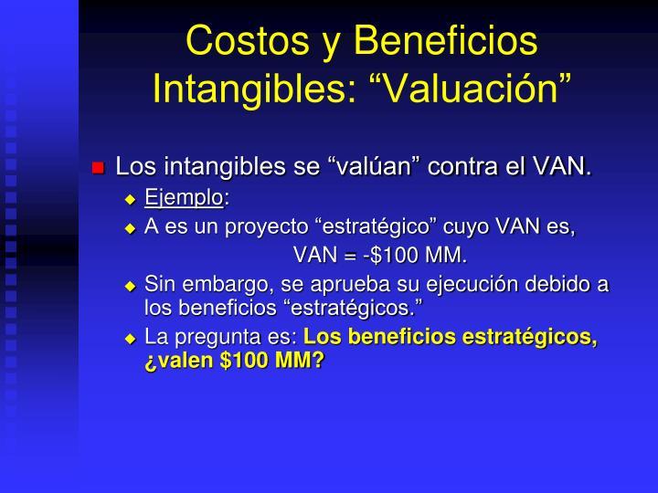 """Costos y Beneficios Intangibles: """"Valuación"""""""