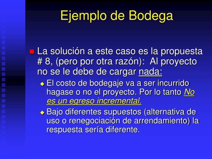 Ejemplo de Bodega
