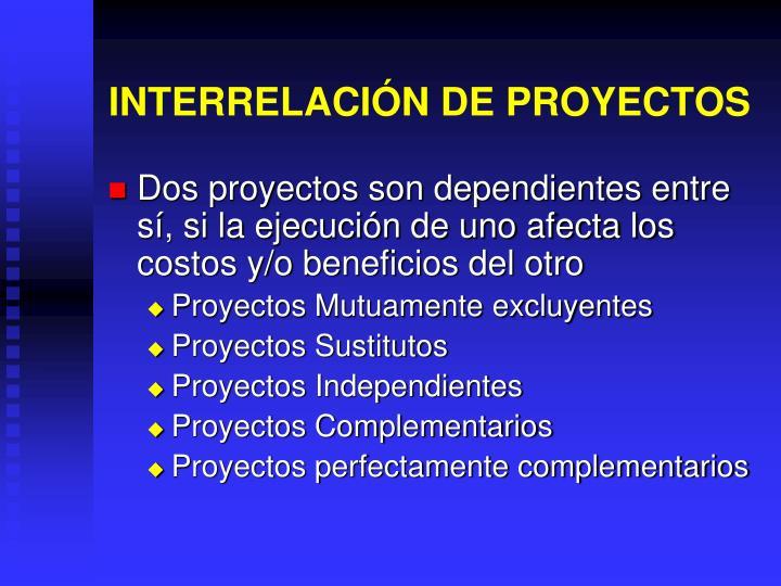 INTERRELACIÓN DE PROYECTOS
