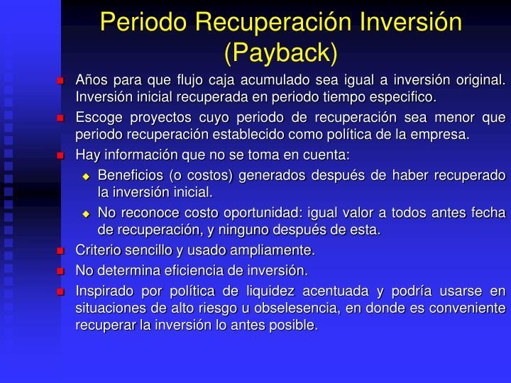Periodo Recuperación Inversión