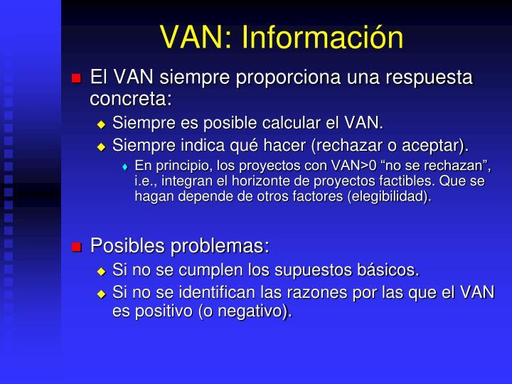 VAN: Información