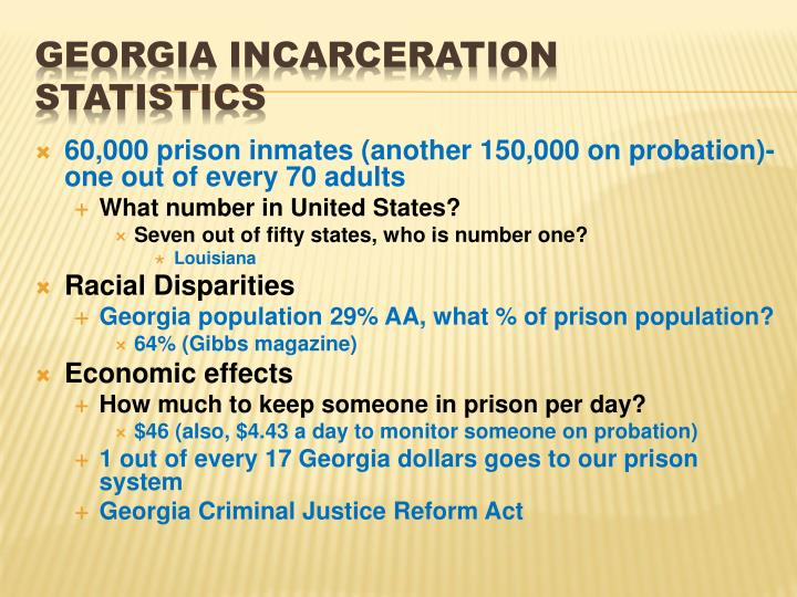 60,000 prison inmates (another 150,000 on probation)-  one out of every 70 adults
