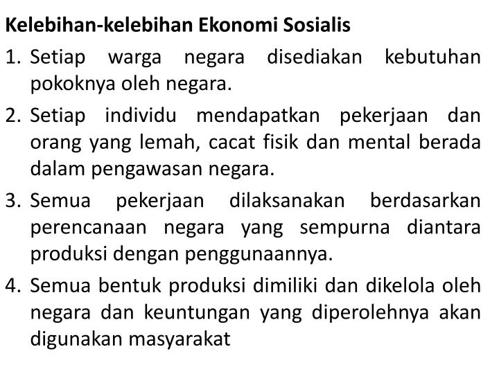 Kelebihan-kelebihan Ekonomi Sosialis