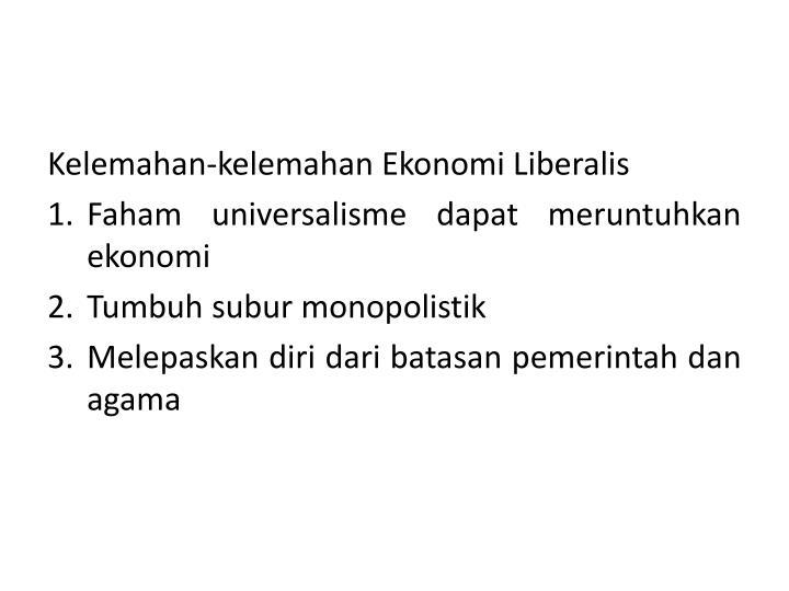Kelemahan-kelemahan Ekonomi Liberalis