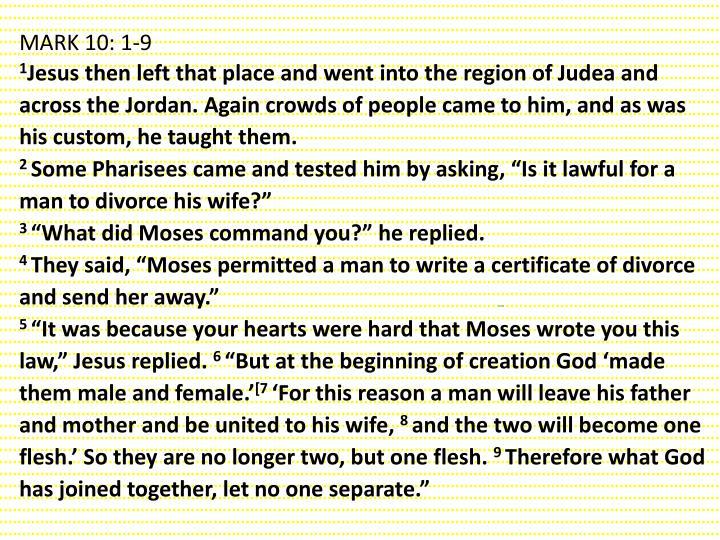 MARK 10: 1-9