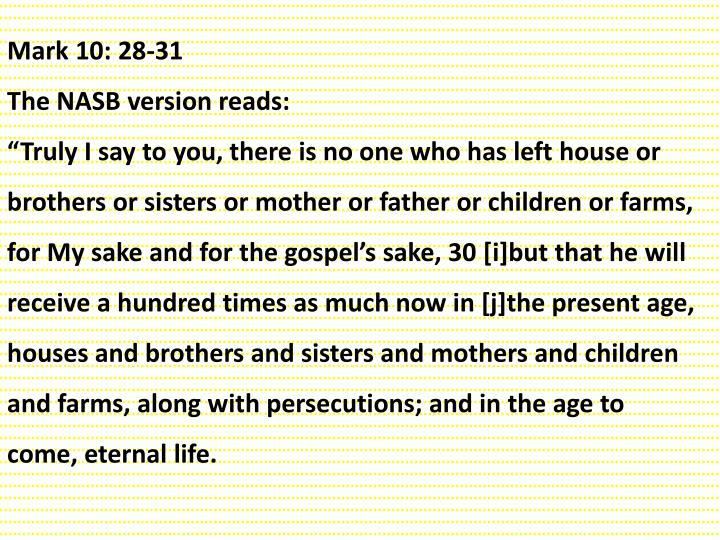 Mark 10: 28-31
