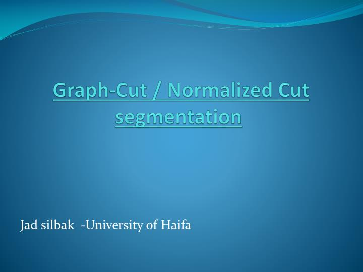 graph cut normalized cut segmentation