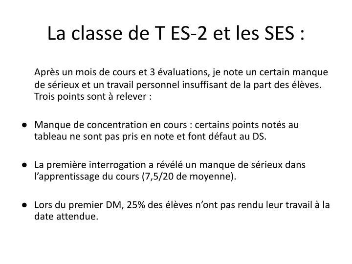 La classe de T ES-2 et les SES :