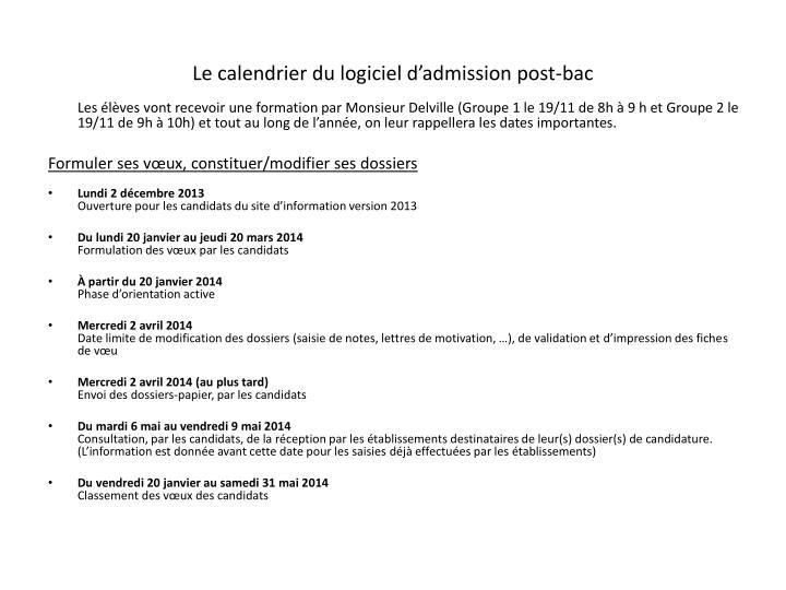 Le calendrier du logiciel d'admission post-bac