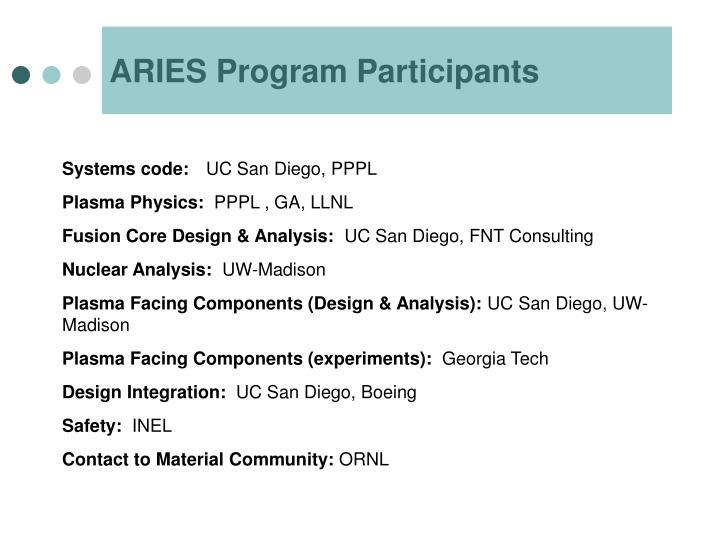 ARIES Program Participants