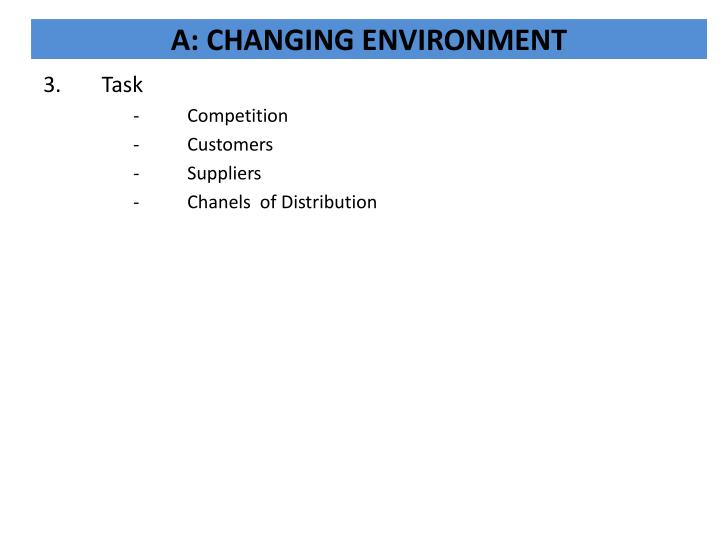 A: CHANGING ENVIRONMENT