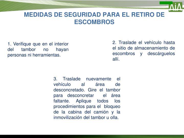MEDIDAS DE SEGURIDAD PARA EL RETIRO DE ESCOMBROS
