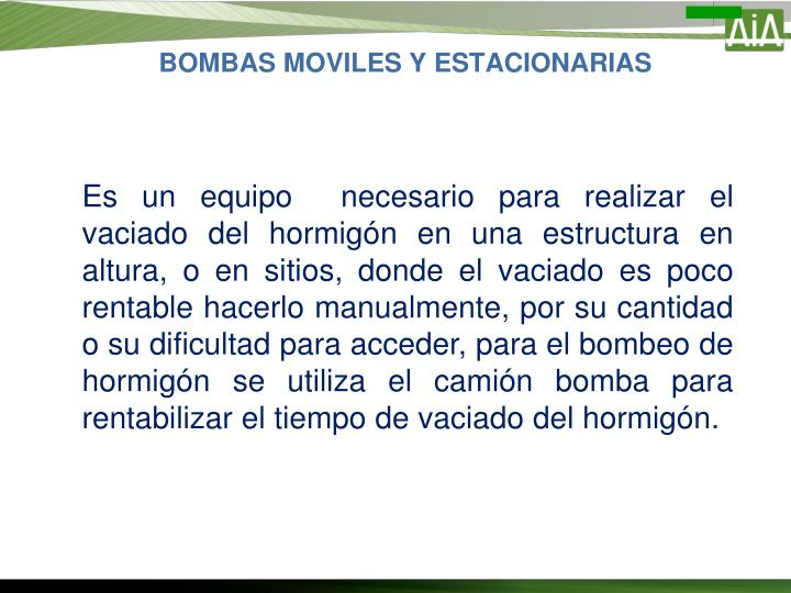 BOMBAS MOVILES Y ESTACIONARIAS