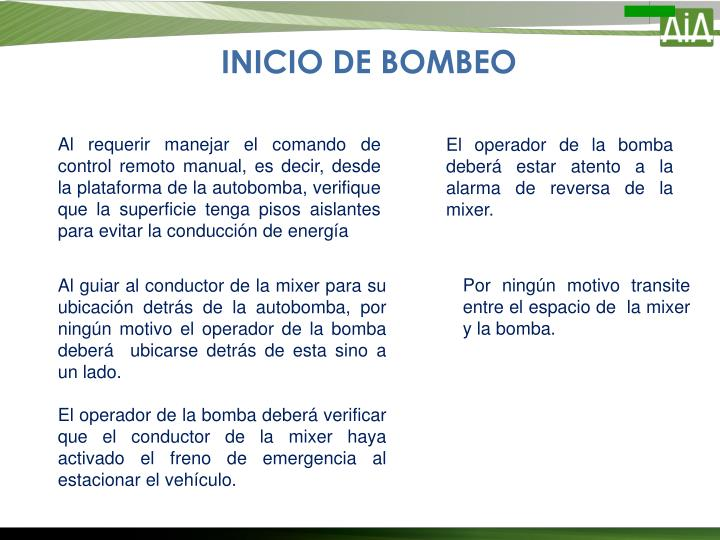 INICIO DE BOMBEO