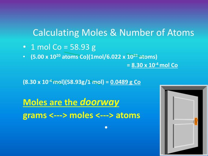 Calculating Moles & Number of Atoms