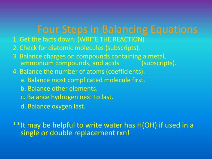 Four Steps in Balancing Equations