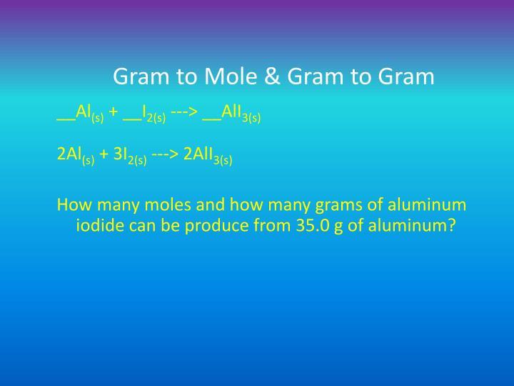Gram to Mole & Gram to Gram