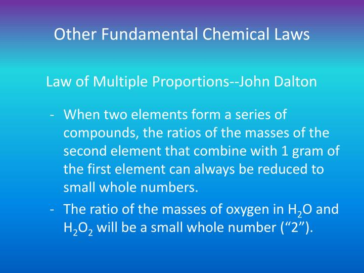 Other Fundamental Chemical Laws