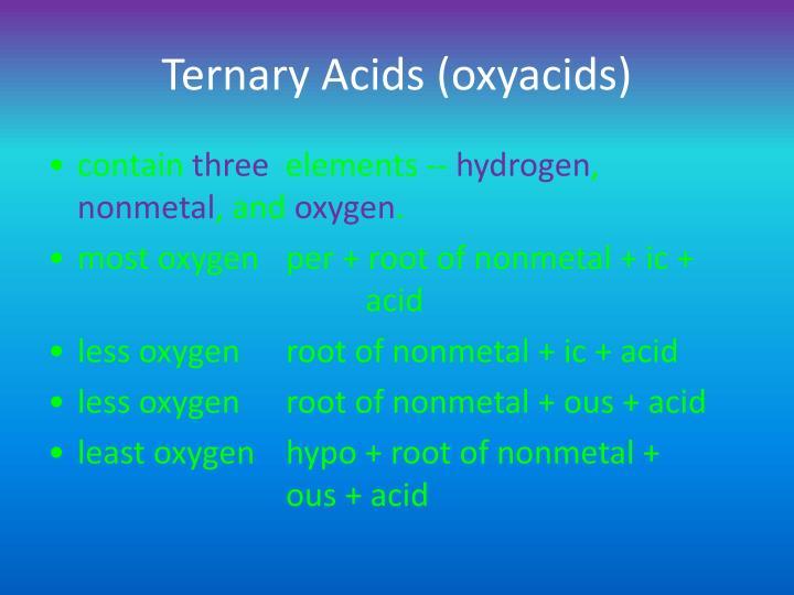 Ternary Acids (oxyacids)