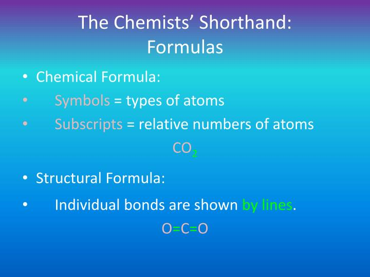 The Chemists' Shorthand: