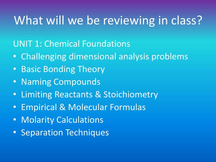 What will we be reviewing in class?