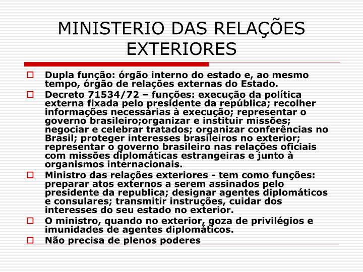 MINISTERIO DAS RELAÇÕES EXTERIORES