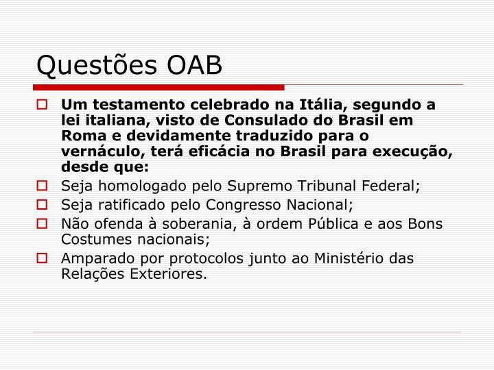Questões OAB