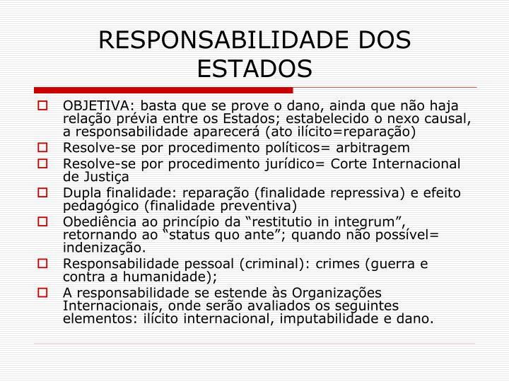 RESPONSABILIDADE DOS ESTADOS