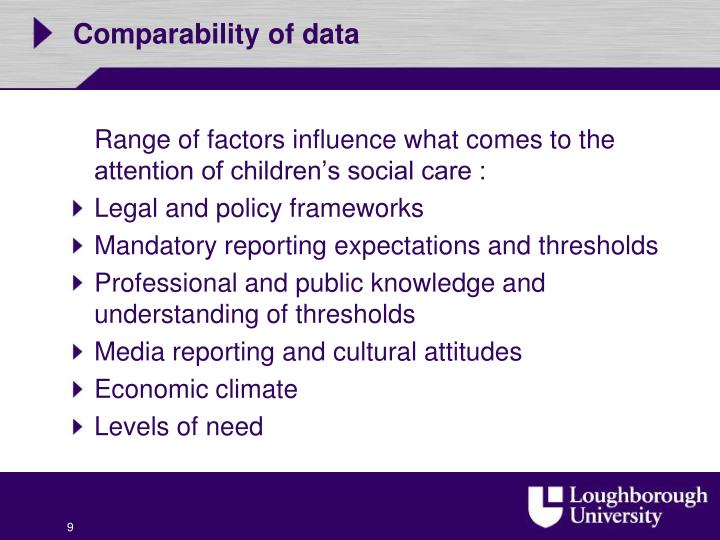 Comparability of data