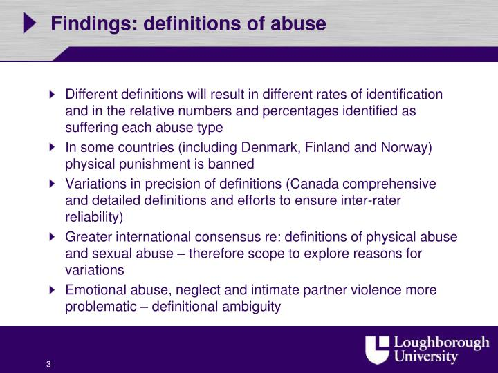 Findings definitions of abuse