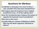questions for marbury