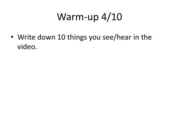 Warm-up 4/10