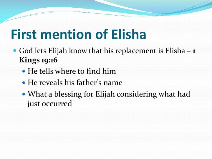 First mention of elisha