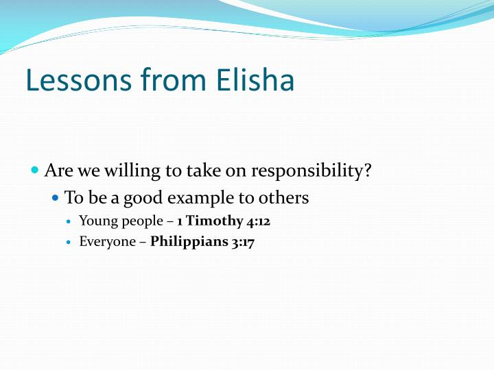 Lessons from Elisha