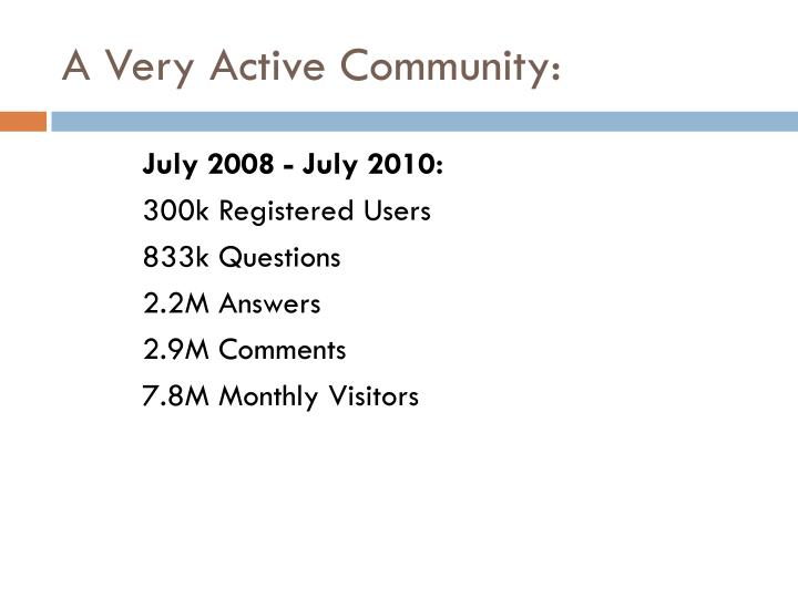 A Very Active Community: