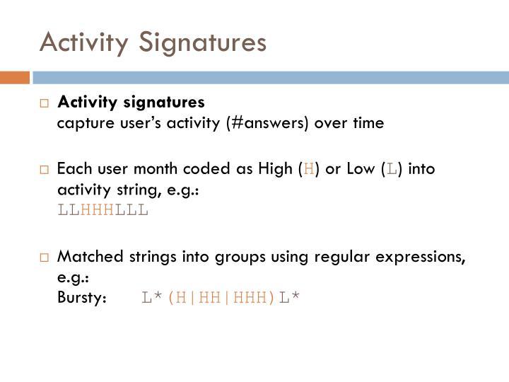 Activity Signatures