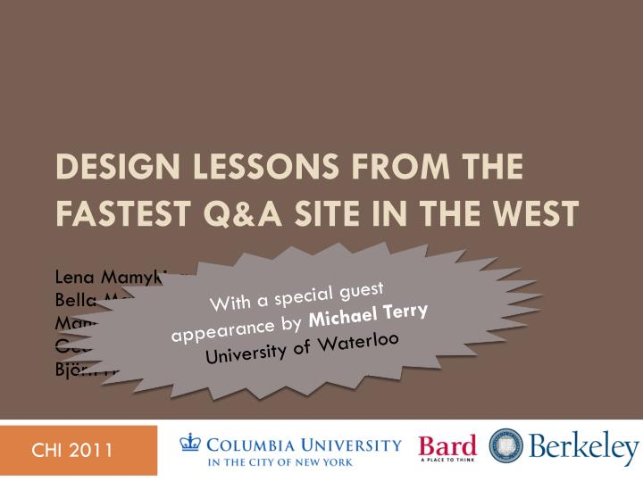 Design lessons from the fastest q a site in the west