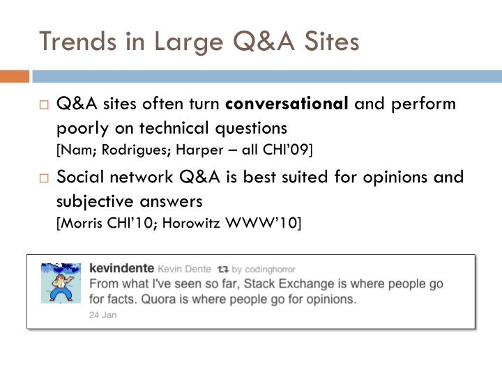 Trends in Large Q&A Sites